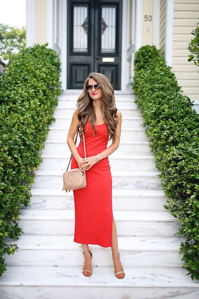 31b733e235b3 ribbed tank dress with Gucci bag