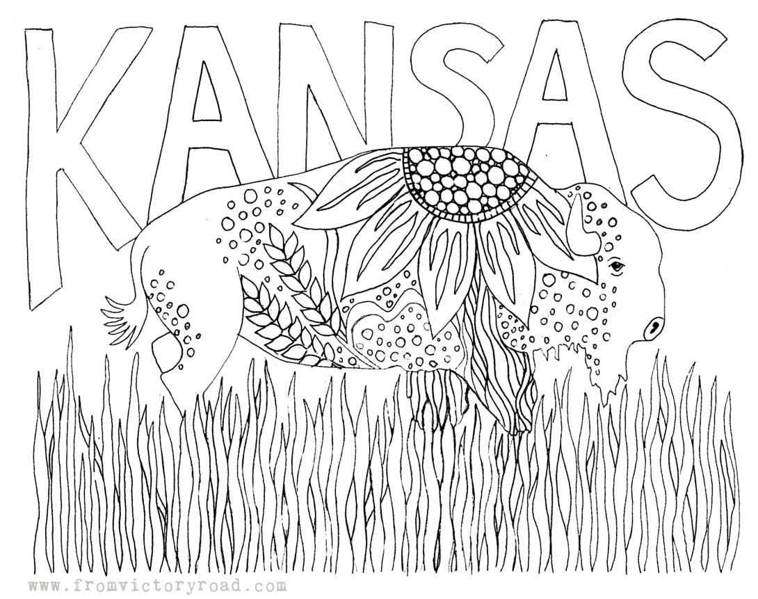 Free Kansas Coloring Page Www Fromvictoryroad Com Kansas Day
