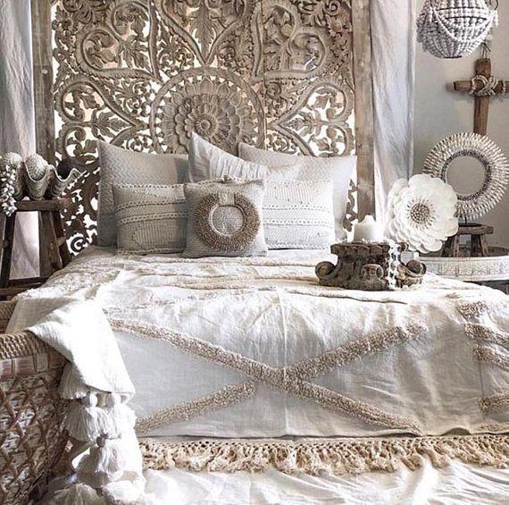 Grand Art de mur thaïlandais King Size Bed Sculpture Tête de lit bohème 6ft f...