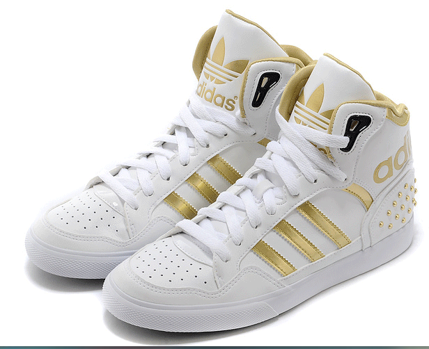 adidas shoes high tops white and gold