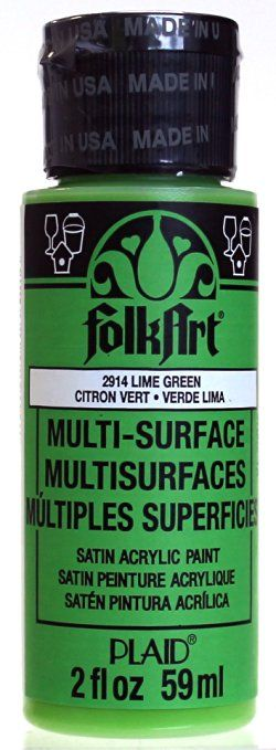 FolkArt Multi-Surface Paint in Assorted Colors (2-Ounce), 2914 Lime Green