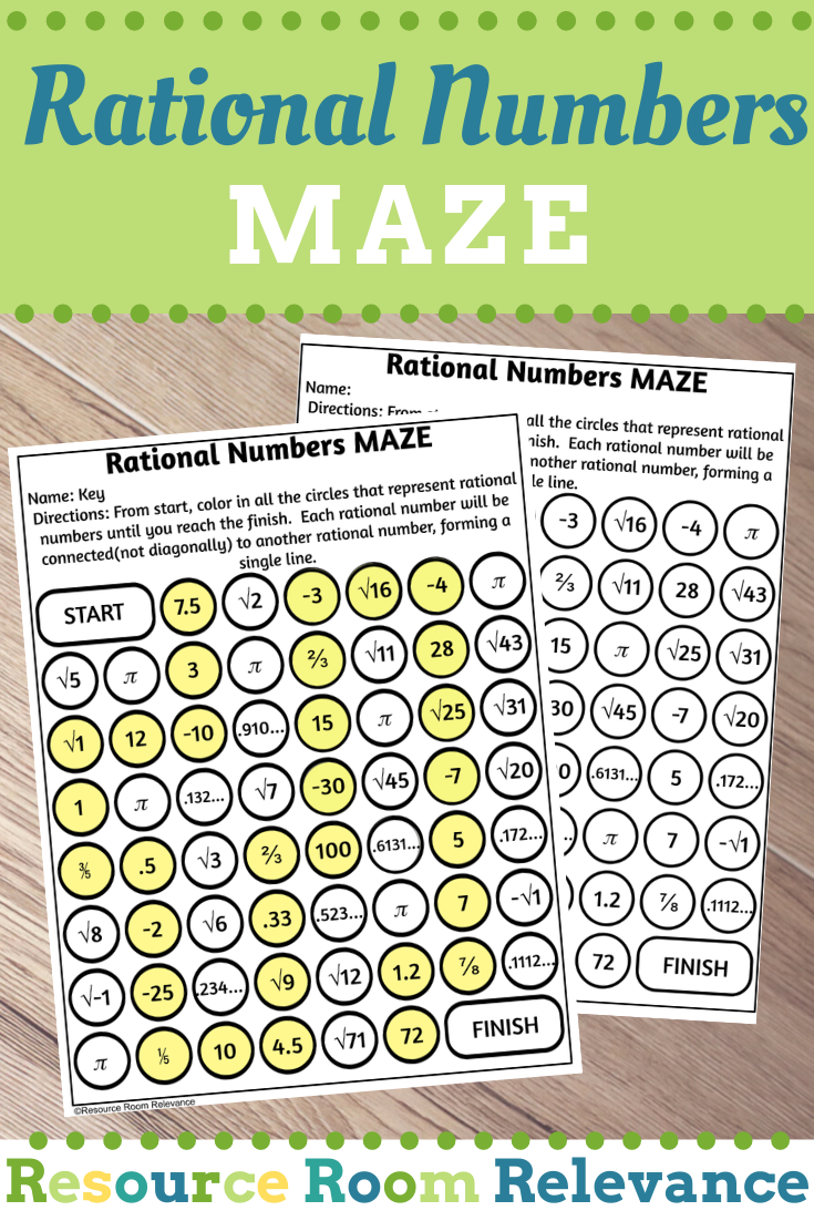 Identifying Rational Numbers Maze Activity Rational Numbers Word Problems Task Cards Math Centers Middle School [ 1102 x 735 Pixel ]
