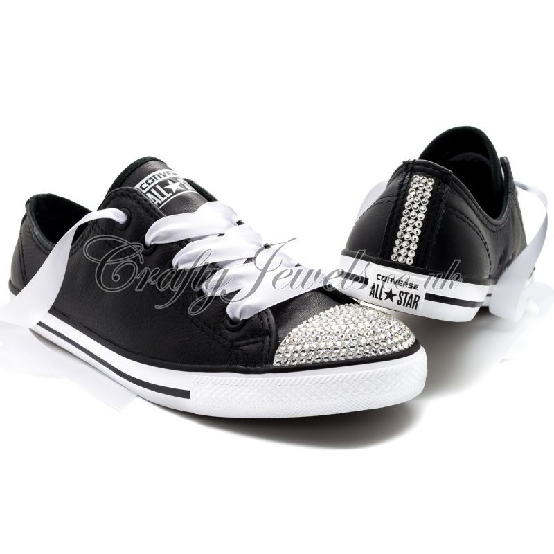 Dainty Crystal Converse in Black Leather with Swarovski or Diamante Crystals.