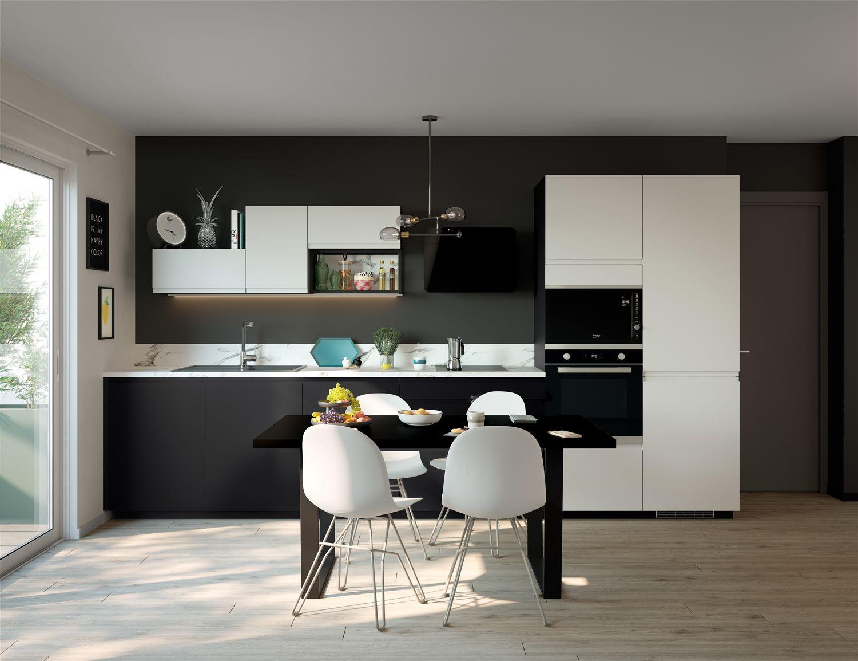 cuisine noire et blanche modele de