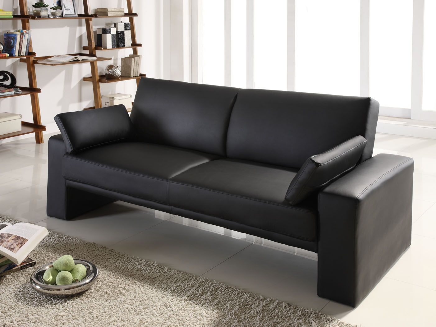fascinating chesterfield sofa bed floor ceiling living room design | Fancy Black Sofa Designs For Beautiful Living Room ...