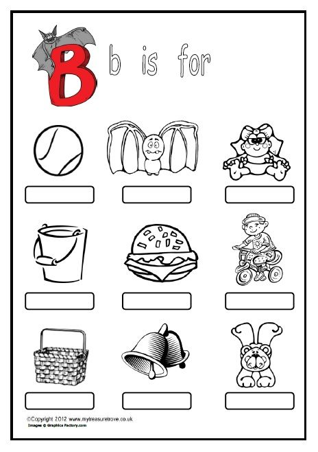 Free b is for a phonics worksheet where children name label and activities altavistaventures Choice Image