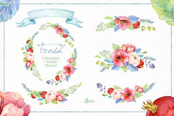 Fresh Flowers watercolor Pack - Illustrations - 2 Favorite vectors - fresh invitation banner vector