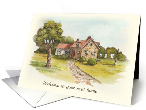 Welcome to Your New Home Congratulations with Watercolor Art of Country Homestead card