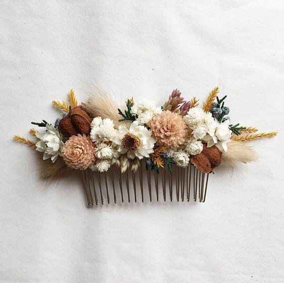 Hair Comb // Autumn Blush // Dried Flowers