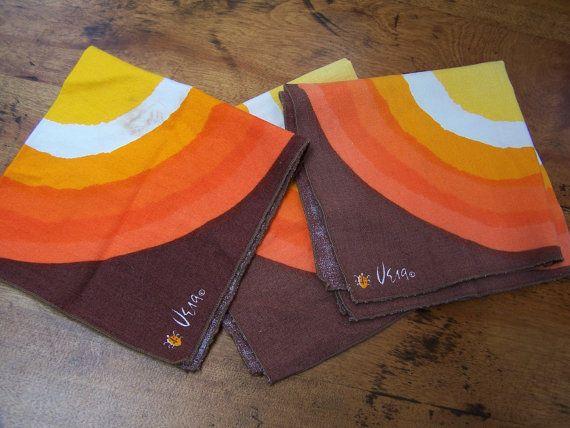 Vera napkins 1970 bold 3 napkins by PlantDreaming on Etsy, $9.00