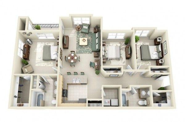 3 Bedroom Apartment House Plans Haus Plane Grundriss Wohnung