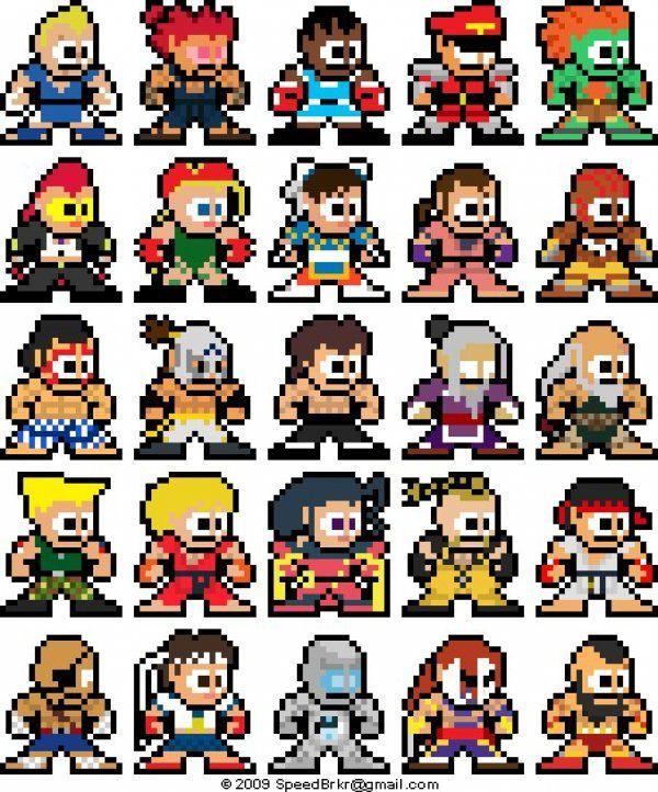 Street Fighter 4 en chibi sprites. Y a plus qu'à les reproduire avec des perles #hama !