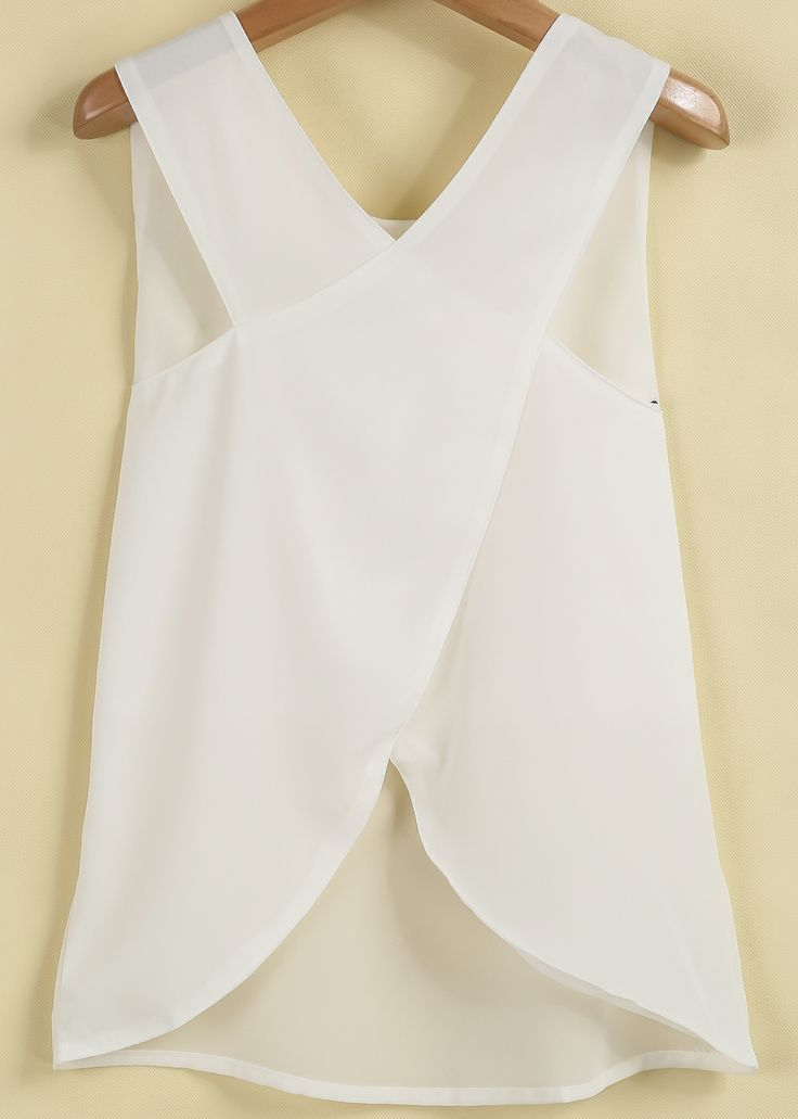 White Sleeveless Cross Back Chiffon Blouse | Moda e Estilos ...