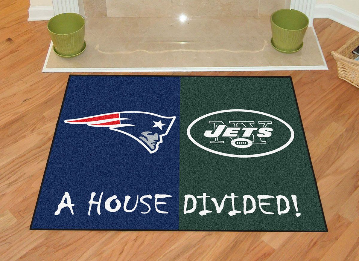 New England Patriots Vs York Jets House Divided Rug Nfl Team Rivalry Accent  Carpet