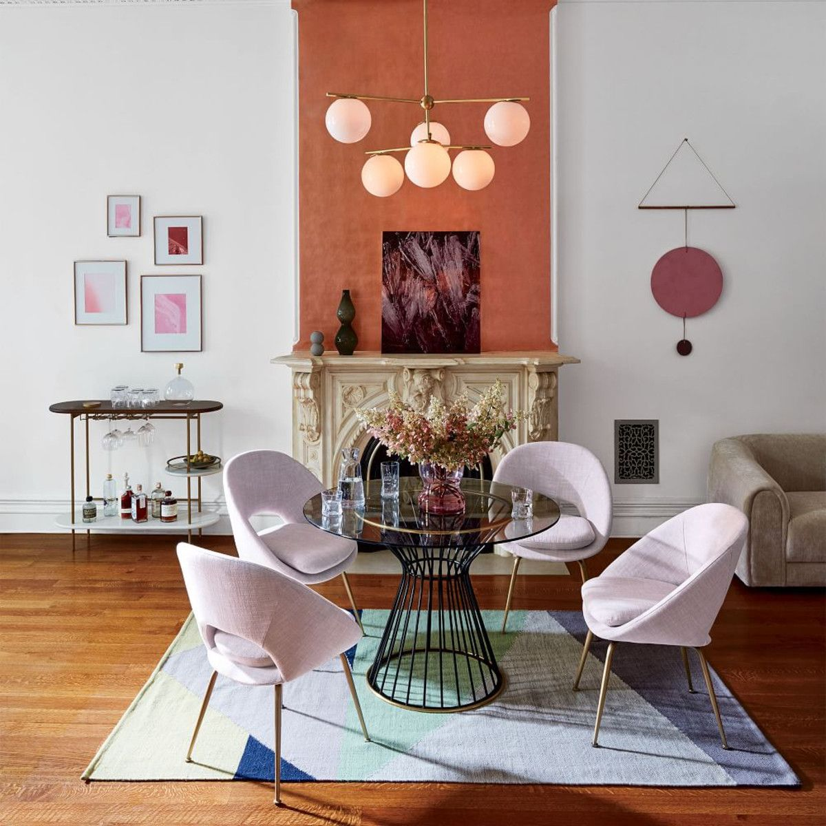 Orb Upholstered Dining Chair West Elm Au Retro Home