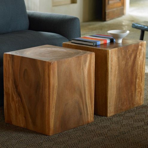 Charmant Convertible Wood Cube Accent Tables