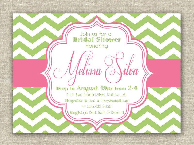 Pink & Green Chevron Bridal Shower Invitation. DIY Printable Baby ...