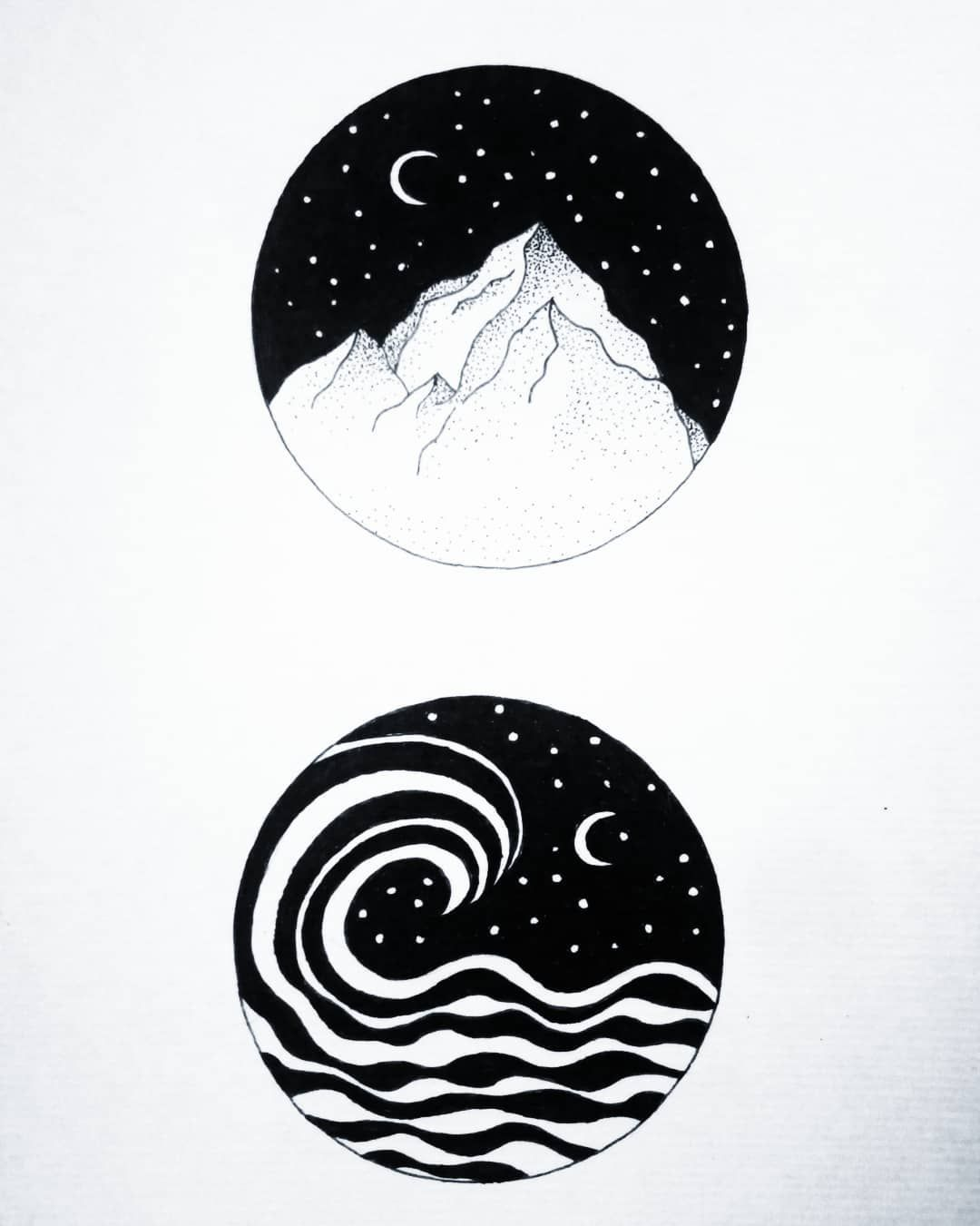 drawing ink nature moon paysage mountain moonchild. Black Bedroom Furniture Sets. Home Design Ideas