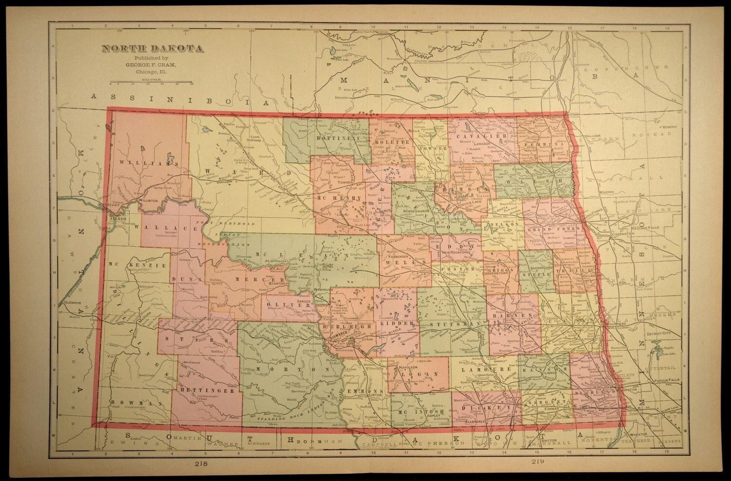 North Dakota Map North Dakota Antique LARGE Wall Decor | North ...