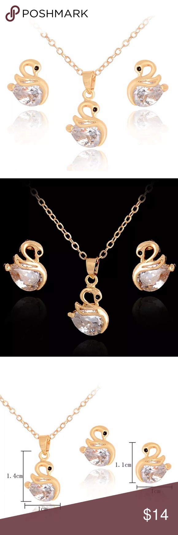Gold swan necklace and earring set pinterest swans elegant and
