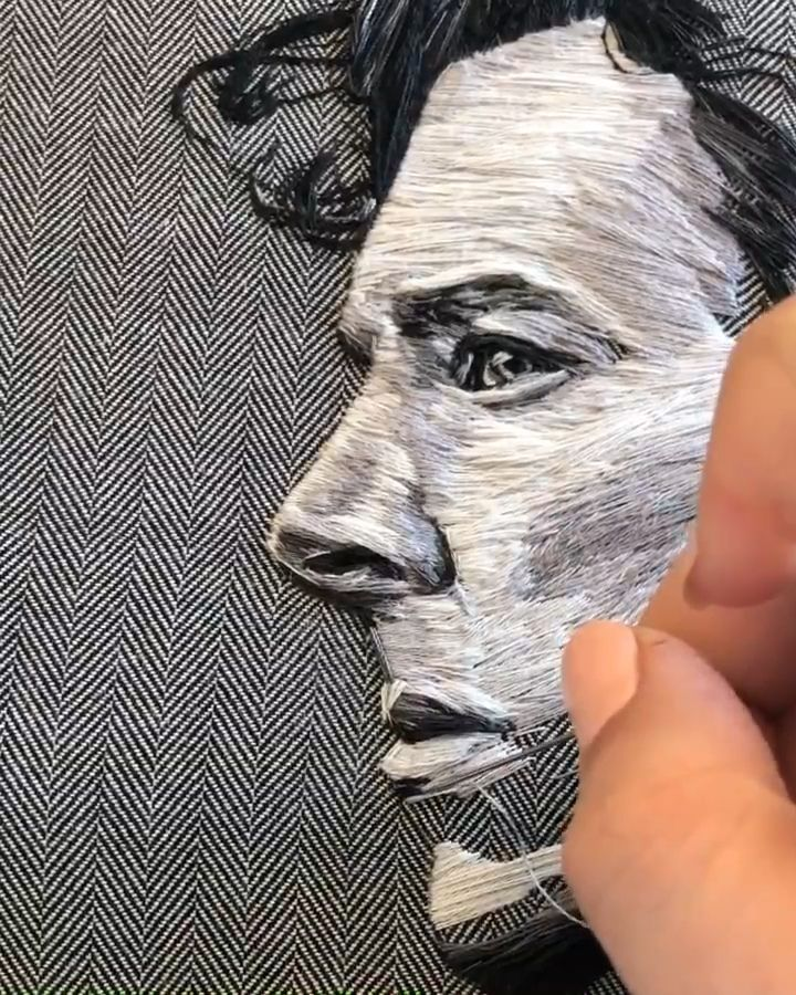 Photo of Sherlock Holmes embroidered portrait