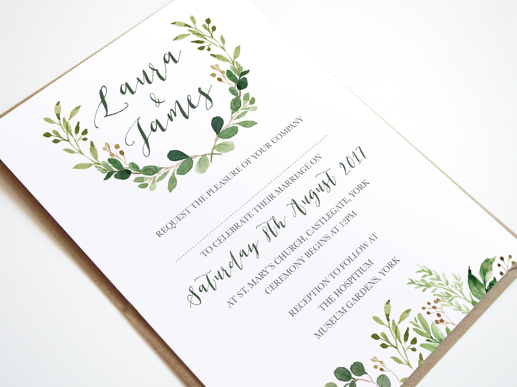 Green Leaf, Watercolour, Greenery, Eucalyptus Wedding Invitations ...