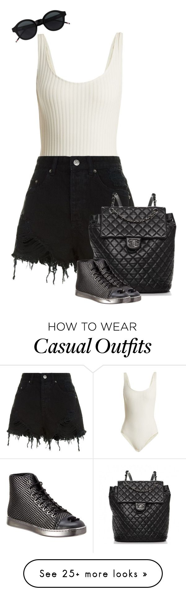 """""""Casual day out"""" by dailyfish on Polyvore featuring Solid & Striped, Ksubi and Chanel"""