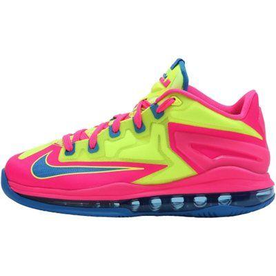 Nike LeBron XI GS Youth Basketball Shoe - Volt/Pink/Photo Blue
