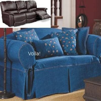 Reclining SOFA Slipcover Denim Blue Jeans Adapted for Dual Recliner Couch : couch covers for reclining couches - islam-shia.org