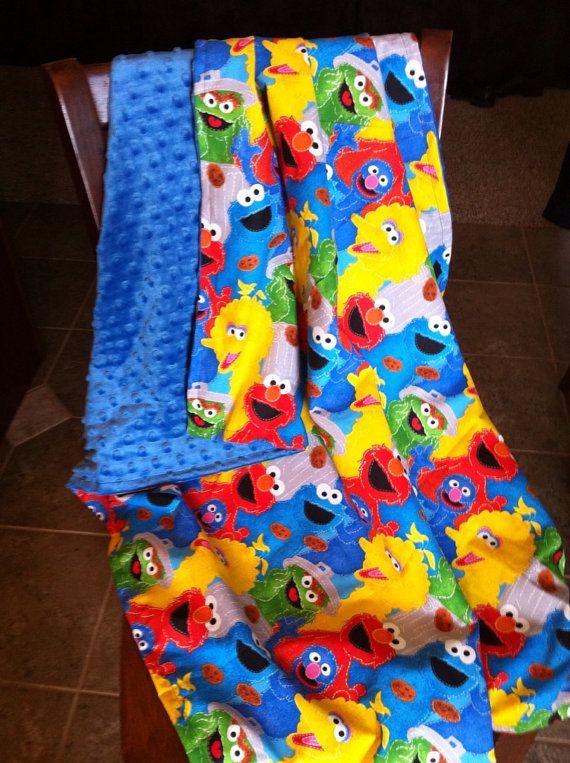 Elmo Bedroom Decorating Ideas: Sesame Street Minky Blanket Toddler Sized