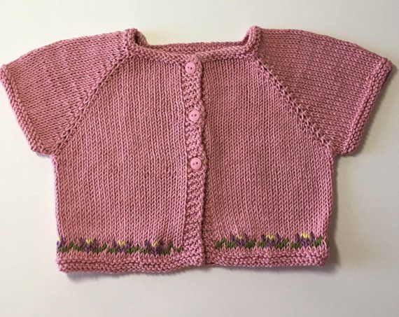 3650f8239 Short Sleeve Pink Baby Sweater