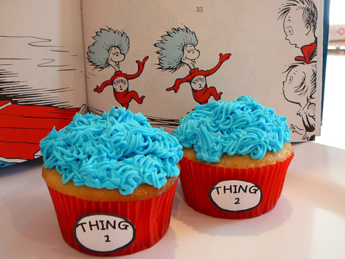 "Just add blue food coloring to the frosting, and tape the ""Thing"" signs to red cupcake liners!"
