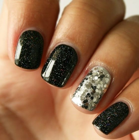 micro-glitter black with larger silver glitter accent | Get Nailed ...