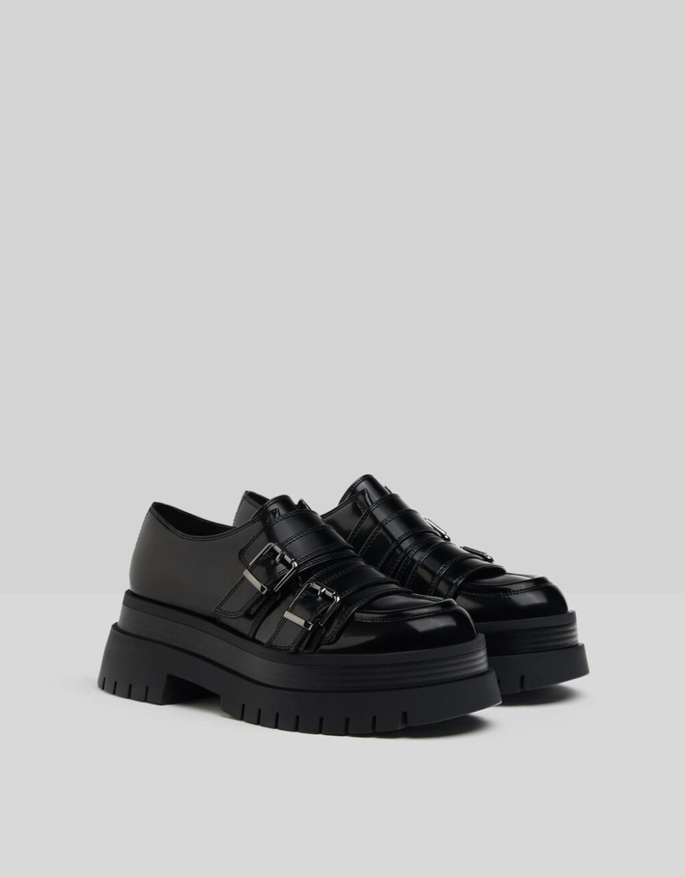 Buty Na Plaskiej Platformie Xl Ze Sprzaczkami Buty Kobieta Bershka Black Heels Low Buckle Shoes Women Platform Shoes