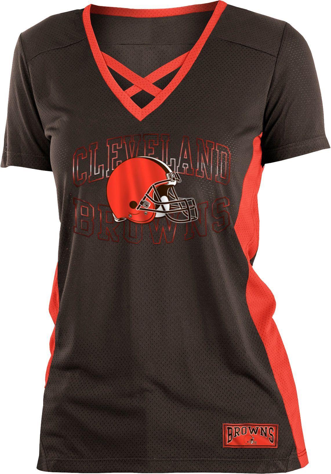 e5a96b83 NFL Team Apparel Women's Cleveland Browns Mesh Lace Brown T-Shirt ...