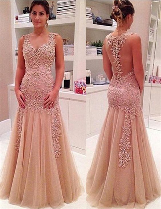 Sexy Mermaid Evening Dress, V-Neck Champagne Evening Dress, Backless ...