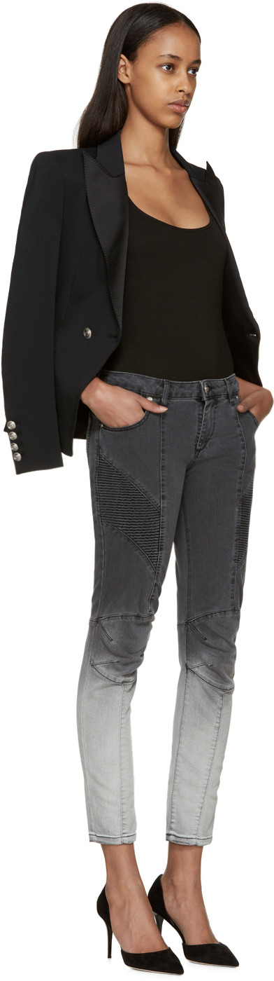 2a4685f5 Pierre Balmain for Women Collection. Pierre Balmain Grey Two-Tone Biker  Jeans