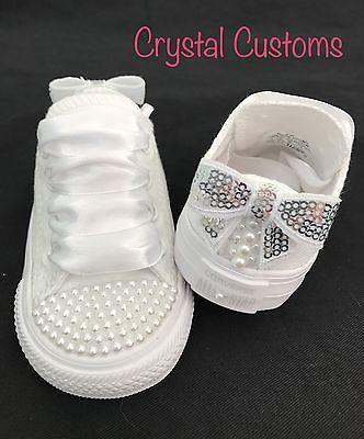 07cb6002795a Infants Kids Bling Custom Bridal White Wedding Converse Size 2 3 4 5 6 7 8  9 10+
