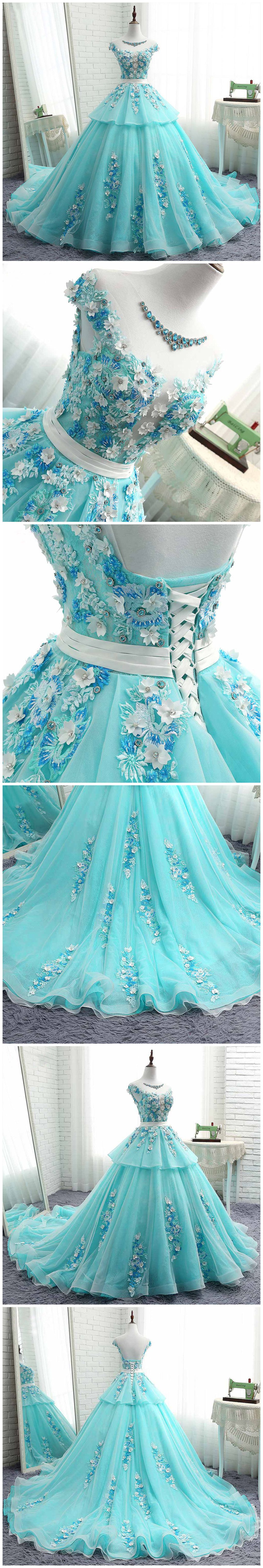 chic aline scoop prom dresses with applique blue long prom