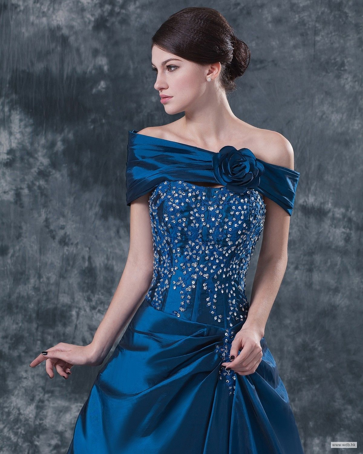 wedding gowns Glamorous sequined bodice ball gown with removable off shoulder   $169.8