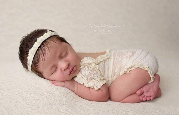 faf160d3352 PREORDER Newborn Ivory Lace Romper