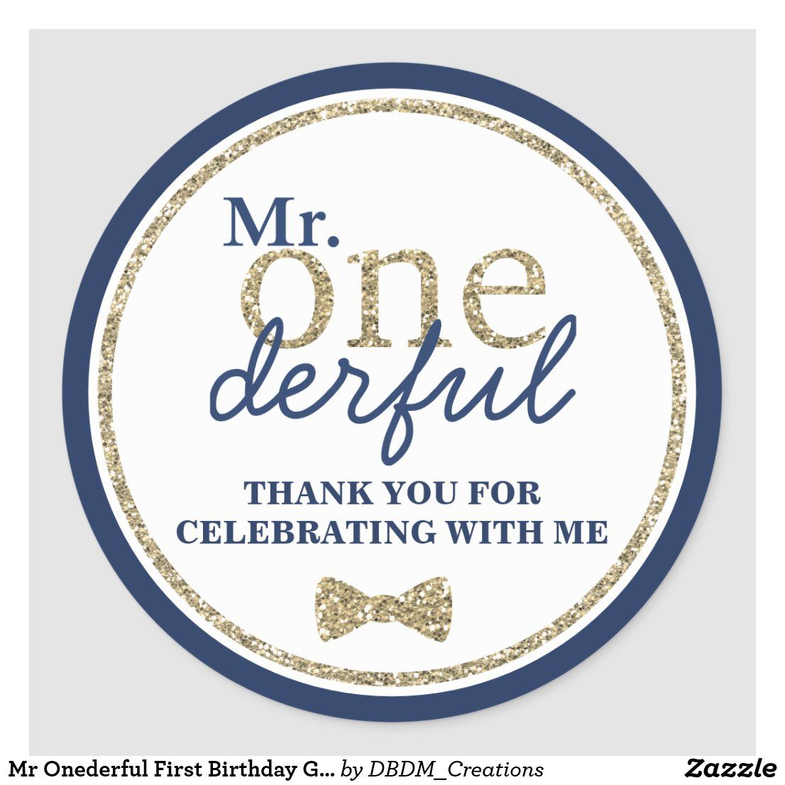 Mr onederful first birthday gold and blue classic round