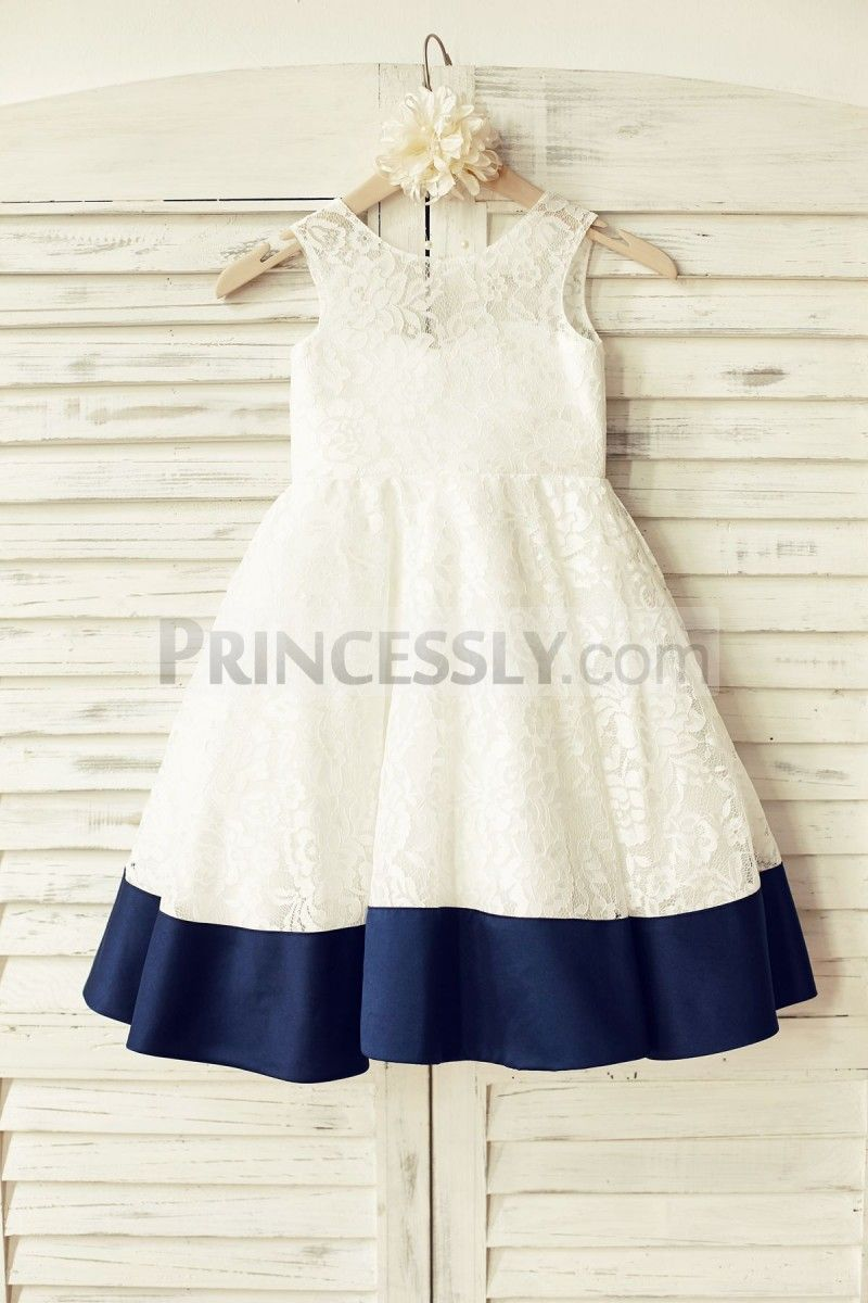 Deep v back ivory lace flower girl dress with navy blue bow girly