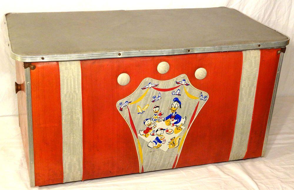 Ultra Rare Vintage Donald Duck Toy Chest Art Deco Mid Century Walt Disney Box Disney Box Donald Duck Toys Toy Chest