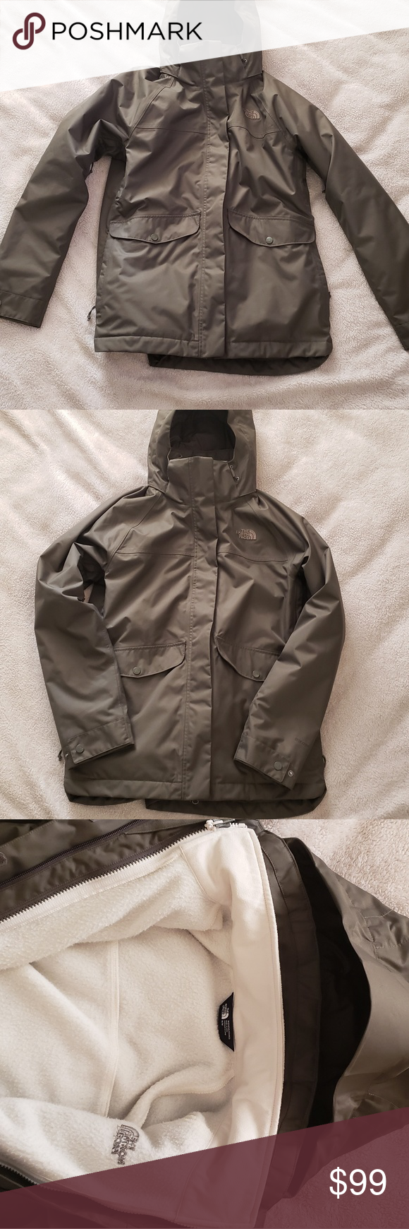 North Face Jacket Womens Wore A Couple Times Has Cream Liner Too Bulky For Me Olive Green Th North Face Jacket Womens Jackets For Women North Face Jacket [ 1740 x 580 Pixel ]