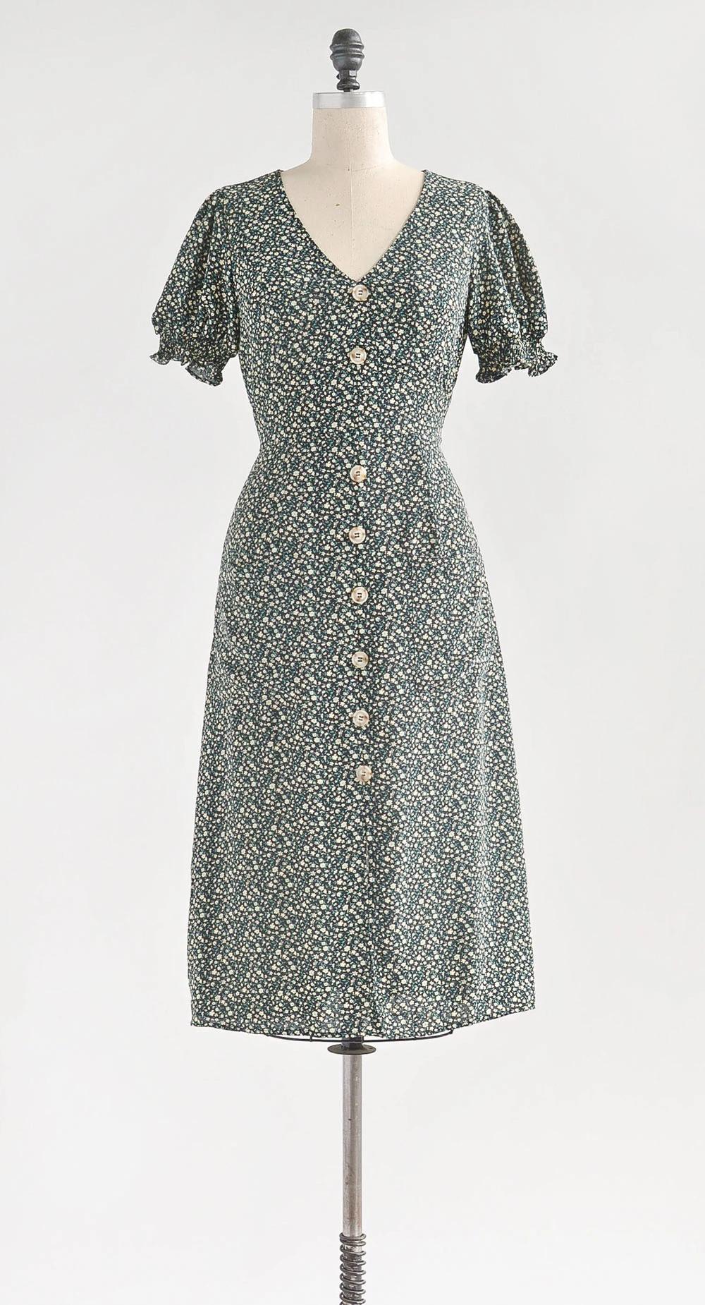 Affordable Feminine Floral Midi Dress Vintage Style Dresses Casual Dresses 20s Fashion Dresses [ 1850 x 1000 Pixel ]
