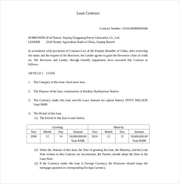 Loan Contract Template free , 26+ Great Loan Agreement Template - sample loan contract templates