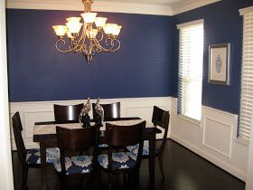 Great dark blue dining room with white chair rail and