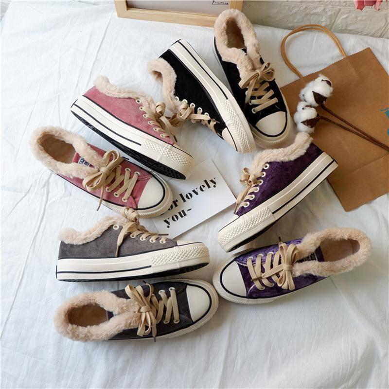 super populair laatste mode gerenommeerde site Women Fur Lined Converse Sneakers Lace-up Canvas Shoes ...