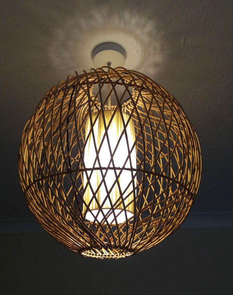 Brown Rattan Ceiling Light Shade   www.energywarden.net